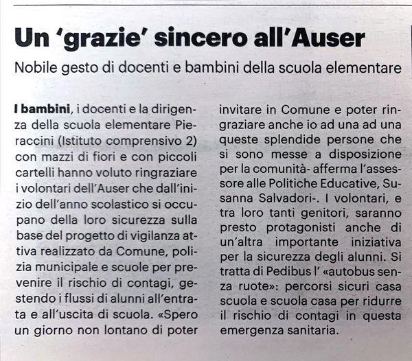 Un grazie sincero all'Auser